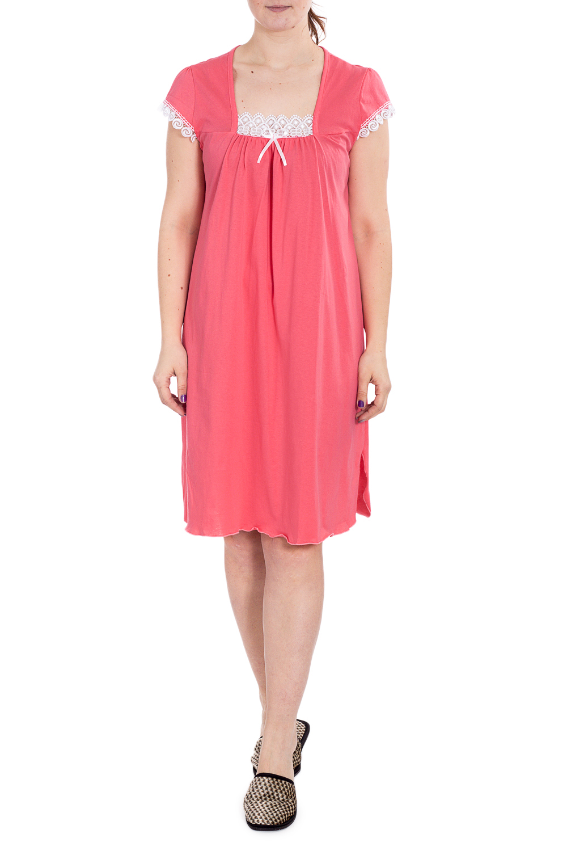 СорочкаНочные сорочки<br>Хлопковая ночная сорочка. Домашняя одежда, прежде всего, должна быть удобной, практичной и красивой. В наших изделиях Вы будете чувствовать себя комфортно, особенно, по вечерам после трудового дня.  В изделии использованы цвета: коралловый, белый  Рост девушки-фотомодели 180 см.<br><br>Горловина: Квадратная горловина<br>По длине: Ниже колена<br>По материалу: Хлопок<br>По рисунку: Однотонные<br>По силуэту: Прямые<br>По стилю: Повседневный стиль<br>По форме: Сорочки<br>По элементам: С декором<br>По сезону: Всесезон<br>Размер : 50,56<br>Материал: Хлопок<br>Количество в наличии: 4