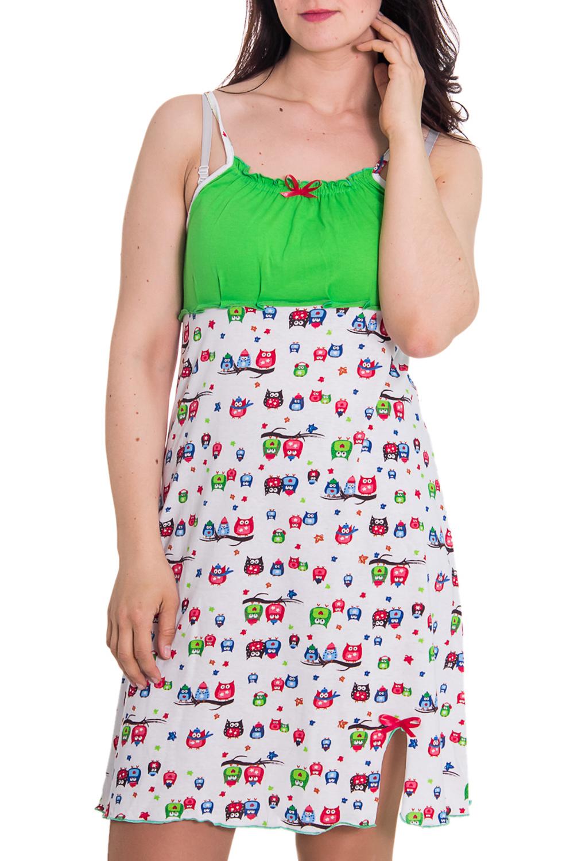 СорочкаНочные сорочки<br>Женская сорочка без рукавов. Домашняя одежда, прежде всего, должна быть удобной, практичной и красивой. В сорочке Вы будете чувствовать себя комфортно, особенно, по вечерам после трудового дня.  Цвет: белый, зеленый  Рост девушки-фотомодели 180 см<br><br>По рисунку: Однотонные<br>По силуэту: Свободные<br>По форме: Сорочки<br>По элементам: Без рукавов,С декором,С разрезом<br>По сезону: Лето<br>По длине: До колена<br>По материалу: Хлопок<br>По стилю: Повседневный стиль<br>Размер : 46<br>Материал: Хлопок<br>Количество в наличии: 1