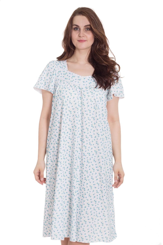 СорочкаНочные сорочки<br>Замечательная женская ночная сорочка с короткими рукавами из приятного хлопка.  Цвет: белый, голубой  Рост девушки-фотомодели 180 см.<br><br>По стилю: Повседневные<br>По материалу: Хлопковые<br>По рисунку: Цветные,Цветочные,Растительные мотивы,С принтом (печатью)<br>По сезону: Всесезон<br>По силуэту: Свободные<br>По элементам: С декором<br>По длине: Миди<br>Горловина: С- горловина<br>Размер: 58<br>Материал: 100% хлопок<br>Количество в наличии: 1