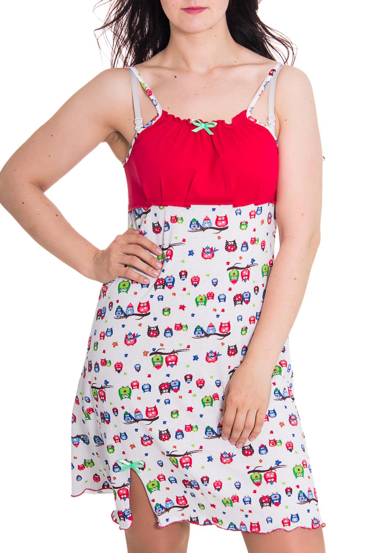 СорочкаНочные сорочки<br>Женская сорочка без рукавов. Домашняя одежда, прежде всего, должна быть удобной, практичной и красивой. В сорочке Вы будете чувствовать себя комфортно, особенно, по вечерам после трудового дня.  Цвет: белый, красный  Рост девушки-фотомодели 180 см<br><br>По сезону: Лето<br>По длине: До колена<br>По материалу: Хлопок<br>По стилю: Повседневный стиль<br>По рисунку: С принтом,Цветные<br>По элементам: С декором,С разрезом<br>Размер : 46,48<br>Материал: Хлопок<br>Количество в наличии: 3