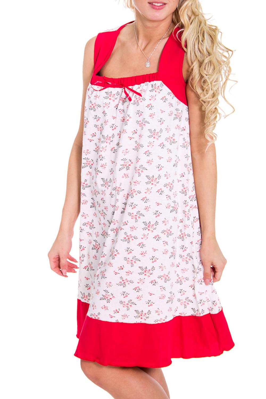 СорочкаНочные сорочки<br>Женская сорочка без рукавов. Домашняя одежда, прежде всего, должна быть удобной, практичной и красивой. В сорочке Вы будете чувствовать себя комфортно, особенно, по вечерам после трудового дня.  Цвет: белый, красный  Рост девушки-фотомодели 170 см<br><br>По рисунку: Цветные<br>По силуэту: Свободные<br>По форме: Сорочки<br>По элементам: Без рукавов<br>По сезону: Лето<br>По материалу: Хлопок<br>Размер : 46<br>Материал: Хлопок<br>Количество в наличии: 1