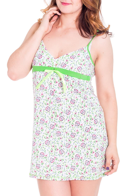СорочкаНочные сорочки<br>Женская сорочка без рукавов. Домашняя одежда, прежде всего, должна быть удобной, практичной и красивой. В сорочке Вы будете чувствовать себя комфортно, особенно, по вечерам после трудового дня.  Цвет: белый с зеленым  Рост девушки-фотомодели 180 см<br><br>Горловина: V- горловина<br>По рисунку: Цветные,С принтом<br>По силуэту: Свободные<br>По форме: Сорочки<br>По элементам: Без рукавов<br>По сезону: Всесезон<br>По длине: До колена<br>По материалу: Хлопок<br>По стилю: Повседневный стиль<br>Размер : 44,48<br>Материал: Хлопок<br>Количество в наличии: 2