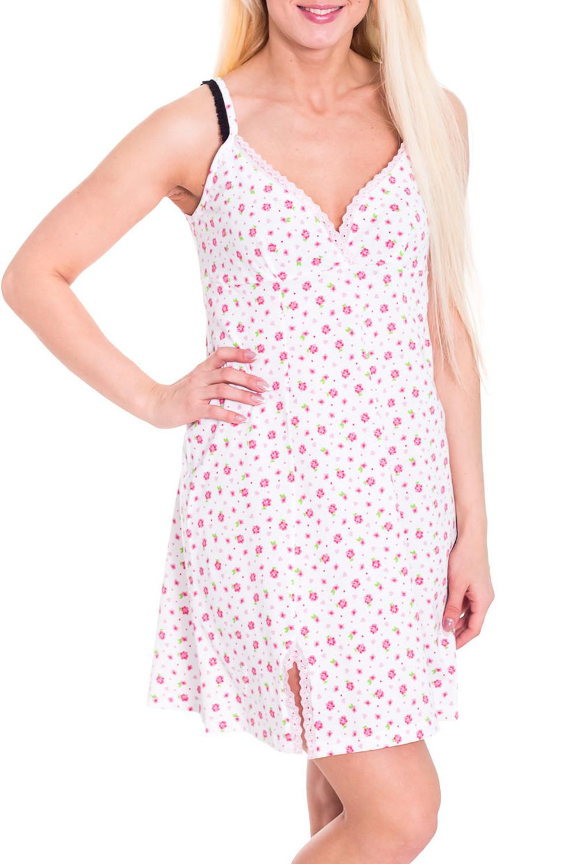 СорочкаНочные сорочки<br>Женская сорочка без рукавов. Домашняя одежда, прежде всего, должна быть удобной, практичной и красивой. В сорочке Вы будете чувствовать себя комфортно, особенно, по вечерам после трудового дня.  Цвет: белый, розовый  Рост девушки-фотомодели 170 см<br><br>Горловина: V- горловина<br>По рисунку: Цветные,С принтом,Растительные мотивы<br>По силуэту: Свободные<br>По форме: Сорочки<br>По сезону: Лето<br>По длине: До колена<br>По материалу: Хлопок<br>По стилю: Повседневный стиль<br>По элементам: С декором<br>Размер : 42<br>Материал: Хлопок<br>Количество в наличии: 1