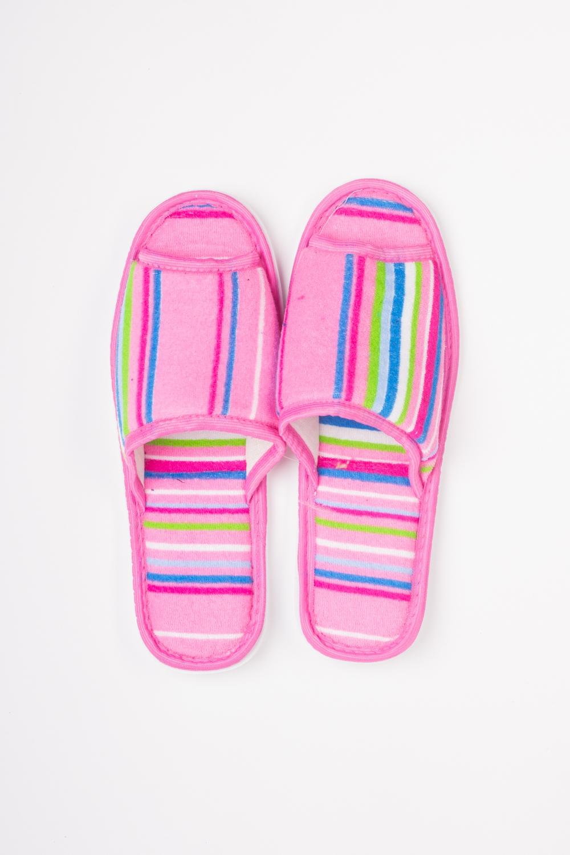 ТапочкиДомашняя обувь<br>Яркие и мягкие домашние тапочки подарят не только комфорт, но и отличное настроение после трудового дня.   Цвет: розовый и др.<br><br>По материалу: Текстиль<br>По рисунку: С принтом (печатью),Цветные<br>По сезону: Лето,Осень,Весна,Всесезон,Зима<br>По форме: Тапочки<br>Размер: 36-37,38-39<br>Материал: 100% хлопок<br>Количество в наличии: 5