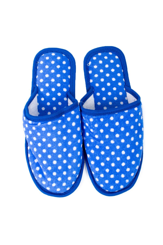ТапочкиДомашняя обувь<br>Яркие и мягкие домашние тапочки подарят не только комфорт, но и отличное настроение после трудового дня.   В изделии использованы цвета: голубой, белый<br><br>По материалу: Текстиль<br>По рисунку: В горошек,Цветные,С принтом<br>По форме: Тапочки<br>По сезону: Всесезон<br>Размер : 35-36<br>Материал: Текстиль<br>Количество в наличии: 1