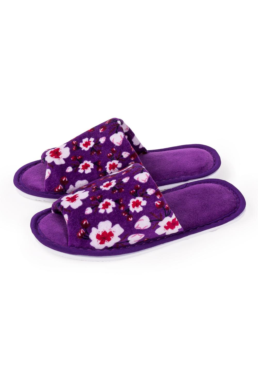 ТапочкиДомашняя обувь<br>Теплые и мягкие домашние тапочки подарят не только комфорт, но и отличное настроение после трудового дня.   В изделии использованы цвета: фиолетовый и др.<br><br>По рисунку: Растительные мотивы,Цветные,Цветочные,С принтом<br>По форме: Тапочки<br>По сезону: Всесезон<br>Размер : 35-36,36-37<br>Материал: Велюр<br>Количество в наличии: 5