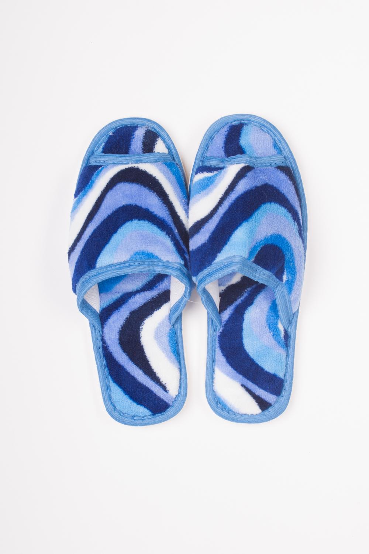 ТапочкиДомашняя обувь<br>Яркие и мягкие домашние тапочки подарят не только комфорт, но и отличное настроение после трудового дня.   Цвет: синий, голубой, белый<br><br>По материалу: Текстиль<br>По рисунку: С принтом (печатью),Цветные<br>По сезону: Весна,Зима,Лето,Осень,Всесезон<br>По форме: Тапочки<br>Размер : 35,36-37,38-39<br>Материал: Текстиль<br>Количество в наличии: 1