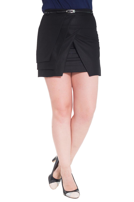 ЮбкаЮбки<br>Интересная юбка из плотного материала. Отличный выбор для повседневного гардероба. Юбка дополнена поясом.  Цвет: черный  Рост девушки-фотомодели 180 см.<br><br>По длине: Мини<br>По материалу: Костюмные ткани,Тканевые<br>По рисунку: Однотонные<br>По сезону: Весна,Осень<br>По силуэту: Полуприталенные<br>По стилю: Офисный стиль,Повседневный стиль<br>По элементам: Со складками<br>Размер : 42,46,48<br>Материал: Костюмная ткань<br>Количество в наличии: 3