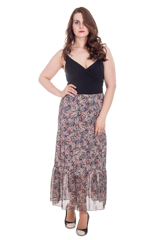 ЮбкаЮбки<br>Цветная юбка в пол. Модель с резинкой в поясе, выполнена из воздушного шифона. Отличный выбор для летнего гардероба.  Цвет: бежевый, мультицвет  Рост девушки-фотомодели 180 см.<br><br>По образу: Свидание<br>По стилю: Повседневный стиль<br>По материалу: Вискоза,Шифон<br>По рисунку: Цветные,Этнические,С принтом<br>По сезону: Лето<br>По силуэту: Полуприталенные<br>По элементам: С резинкой,С подкладом<br>По длине: Макси<br>Размер: 50,52,54,56,58,60,62<br>Материал: 77% вискоза 18% полиэстер 5% эластан<br>Количество в наличии: 11