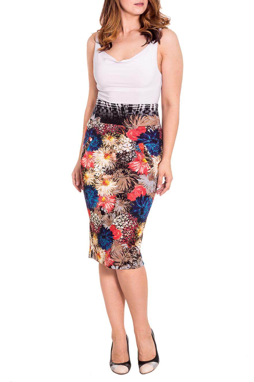 ЮбкаЮбки<br>Яркая юбка из плотной костюмной ткани с цветочным принтом. Отличный выбор для любого случая.  Цвет: коричневый, бежевый, белый, коралловый, синий  Рост девушки-фотомодели 180 см.<br><br>По длине: Ниже колена<br>По материалу: Тканевые<br>По рисунку: Растительные мотивы,Цветные,Цветочные<br>По сезону: Весна,Осень<br>По силуэту: Приталенные<br>По стилю: Повседневный стиль<br>По форме: Юбка-карандаш<br>По элементам: С завышенной талией<br>Разрез: Короткий,Шлица<br>Размер : 46<br>Материал: Костюмно-плательная ткань<br>Количество в наличии: 1