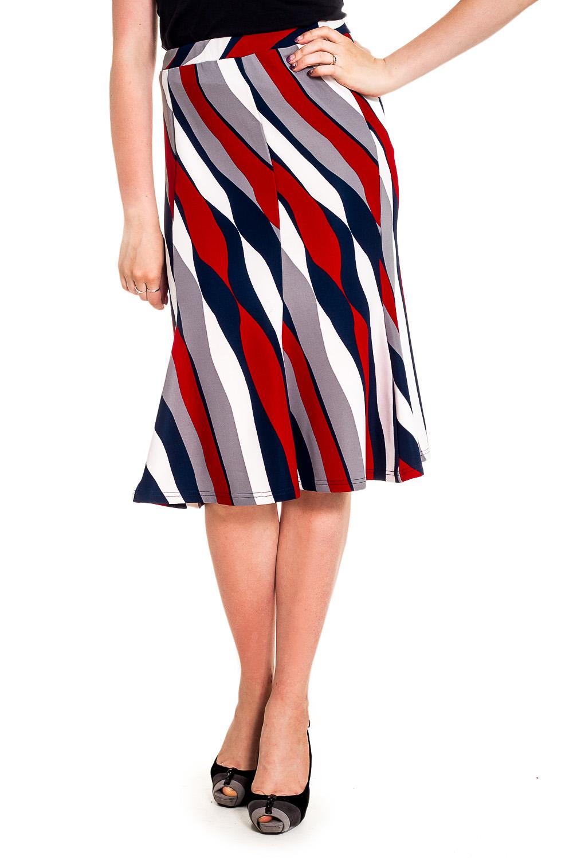 ЮбкаЮбки<br>Красивая юбка с завышенной талией. Модель выполнена из приятного материала. Отличный выбор для любого случая.  Цвет: серый, красный, синий, белый   Рост девушки-фотомодели 170 см.<br><br>По длине: Ниже колена<br>По материалу: Трикотаж,Хлопок<br>По рисунку: В полоску,С принтом,Цветные<br>По сезону: Весна,Осень,Лето<br>По силуэту: Приталенные<br>По стилю: Повседневный стиль<br>По форме: Юбка-годе<br>По элементам: С завышенной талией<br>Размер : 44<br>Материал: Трикотаж<br>Количество в наличии: 1