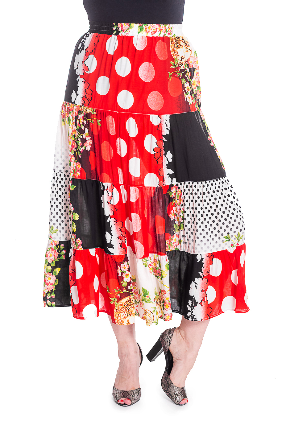 ЮбкаЮбки<br>Цветная ярусная юбка на резинке. Модель выполнена из приятного штапеля. Отличный выбор для любого случая.  В изделии использованы цвета: красный, белый и др.  Рост девушки-фотомодели 180 см<br><br>По длине: Ниже колена<br>По материалу: Тканевые<br>По рисунку: Растительные мотивы,С принтом,Цветные,Цветочные<br>По силуэту: Полуприталенные<br>По стилю: Летний стиль,Повседневный стиль<br>По форме: Юбка-трапеция<br>По сезону: Лето<br>Размер : 58,60,64<br>Материал: Штапель<br>Количество в наличии: 3