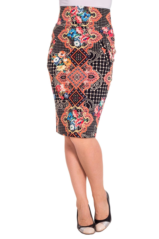 ЮбкаЮбки<br>Яркая юбка из плотной костюмной ткани с абстрактным принтом. Отличный выбор для любого случая.  Цвет: черный, коралловый, бежевый  Рост девушки-фотомодели 180 см.<br><br>По длине: Ниже колена<br>По материалу: Тканевые<br>По рисунку: Абстракция,Цветные<br>По сезону: Весна,Осень<br>По силуэту: Приталенные<br>По стилю: Повседневный стиль<br>По форме: Юбка-карандаш<br>По элементам: С завышенной талией<br>Разрез: Короткий,Шлица<br>Размер : 44,46,48<br>Материал: Костюмно-плательная ткань<br>Количество в наличии: 4