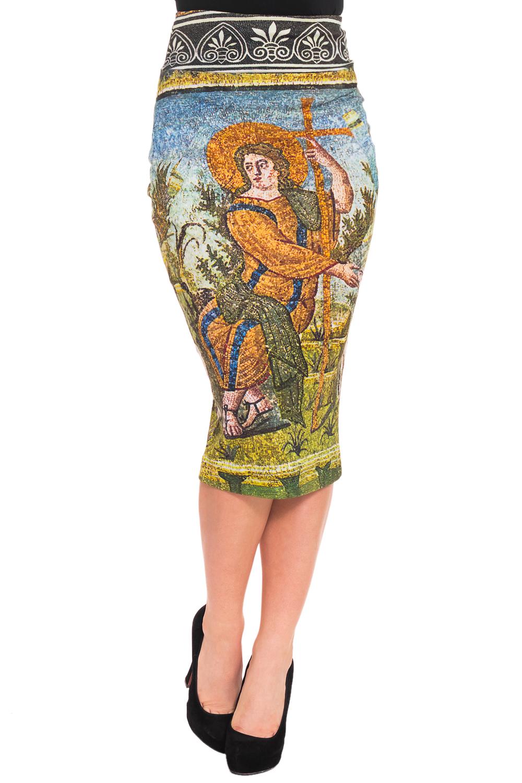ЮбкаЮбки<br>Яркая юбка из плотной костюмной ткани с абстрактным принтом. Отличный выбор для любого случая.  Цвет: мультицвет  Рост девушки-фотомодели 170 см.<br><br>По длине: Ниже колена<br>По материалу: Тканевые<br>По рисунку: С принтом,Цветные<br>По сезону: Весна,Осень<br>По силуэту: Приталенные<br>По стилю: Повседневный стиль<br>По форме: Юбка-карандаш<br>По элементам: С завышенной талией<br>Разрез: Короткий,Шлица<br>Размер : 38,40,42<br>Материал: Костюмно-плательная ткань<br>Количество в наличии: 5