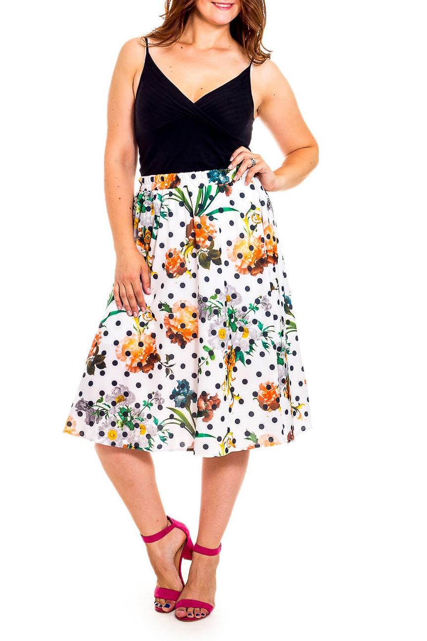 ЮбкаЮбки<br>Эта очаровательная юбка станет прекрасной составляющей Вашего модного гардероба.  В изделии использованы цвета: черный, белый ии др.  Рост девушки-фотомодели 180 см<br><br>Застежка: С резинкой<br>По длине: Миди,Ниже колена<br>По материалу: Атлас<br>По рисунку: В горошек,Растительные мотивы,С принтом,Цветные,Цветочные<br>По сезону: Весна,Зима,Лето,Осень,Всесезон<br>По силуэту: Полуприталенные,Свободные<br>По стилю: Винтаж,Летний стиль,Повседневный стиль,Романтический стиль<br>По форме: Юбка-трапеция<br>По элементам: С декором<br>Размер : 46,50<br>Материал: Плательная ткань<br>Количество в наличии: 2