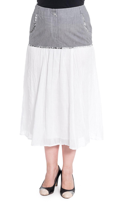 ЮбкаЮбки<br>Замечательная юбка длиной миди. Модель выполнена из приятного материала. Отличный выбор для любого случая.  Ростовка изделия 164-170 см.  В изделии использованы цвета: серый, белый  Рост девушки-фотомодели 180 см<br><br>По длине: Миди<br>По материалу: Хлопок<br>По рисунку: Цветные<br>По силуэту: Полуприталенные<br>По стилю: Летний стиль,Повседневный стиль<br>По элементам: С завышенной талией<br>По сезону: Лето<br>Размер : 46,48,50,52<br>Материал: Хлопок<br>Количество в наличии: 10