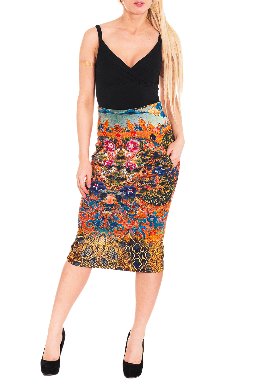 ЮбкаЮбки<br>Яркая юбка из плотной костюмной ткани с красивым принтом. Отличный выбор для любого случая.  Цвет: мультицвет  Рост девушки-фотомодели 170 см.<br><br>По длине: Ниже колена<br>По материалу: Тканевые<br>По рисунку: Абстракция,Растительные мотивы,Цветные,Цветочные<br>По сезону: Весна,Осень<br>По силуэту: Приталенные<br>По стилю: Повседневный стиль<br>По форме: Юбка-карандаш<br>По элементам: С завышенной талией<br>Разрез: Короткий,Шлица<br>Размер : 44<br>Материал: Костюмно-плательная ткань<br>Количество в наличии: 1