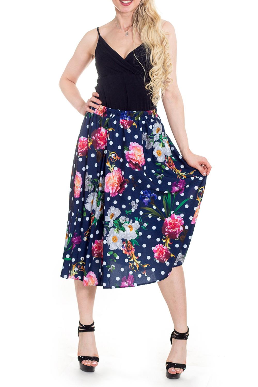 ЮбкаЮбки<br>Милая юбка в горошек. Отличный выбор для летнего гардероба.  В изделии использованы цвета: синий, белый, розовый и др.  Рост девушки-фотомодели 170 см<br><br>По длине: Ниже колена,Миди<br>По материалу: Тканевые<br>По рисунку: В горошек,Растительные мотивы,С принтом,Цветные,Цветочные<br>По силуэту: Полуприталенные<br>По стилю: Повседневный стиль<br>По форме: Юбка-трапеция<br>По элементам: С завышенной талией<br>По сезону: Лето<br>Размер : 46<br>Материал: Плательная ткань<br>Количество в наличии: 1