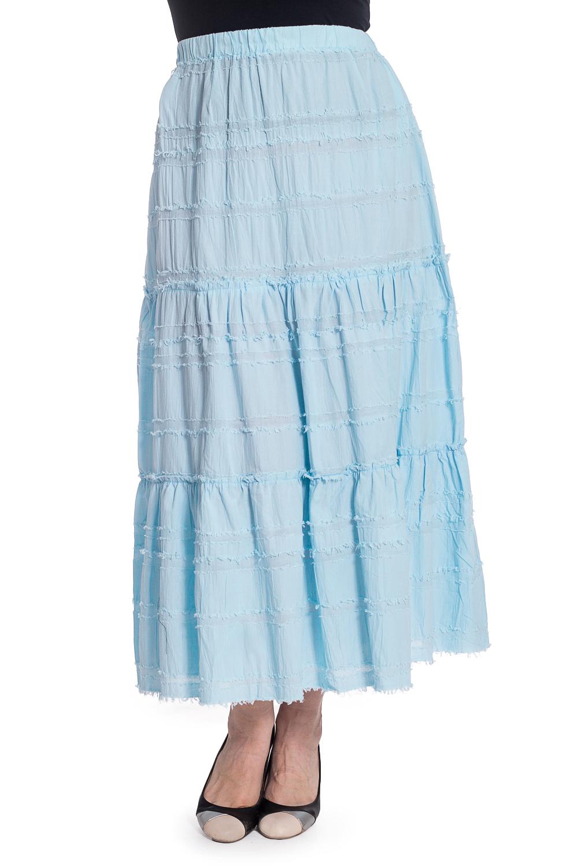 ЮбкаЮбки<br>Однотонная юбка макси с эластичной резинкой в поясе. Модель выполнена из хлопкового материала. Отличный выбор для повседневного гардероба. Ростовка изделия 164-170 см  В изделии использованы цвете: голубой  Рост девушки-фотомодели 180 см<br><br>По длине: Макси<br>По материалу: Хлопок<br>По рисунку: Однотонные<br>По силуэту: Полуприталенные<br>По стилю: Летний стиль,Повседневный стиль<br>По форме: Юбка-трапеция<br>По сезону: Лето<br>Размер : 50,52<br>Материал: Хлопок<br>Количество в наличии: 2