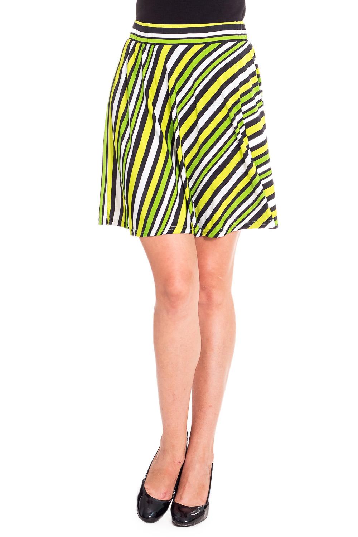 ЮбкаЮбки<br>Удобная летняя юбка из эластичного материала. Отличный выбор для повседневного гардероба.  В изделии использованы цвета: белый, желтый, зеленый, черный  Рост девушки-фотомодели 170 см<br><br>По длине: До колена<br>По материалу: Вискоза,Трикотаж<br>По рисунку: В полоску,С принтом,Цветные<br>По силуэту: Полуприталенные<br>По стилю: Повседневный стиль<br>По форме: Юбка-трапеция<br>По элементам: С завышенной талией<br>По сезону: Лето<br>Размер : 42,44,46,48<br>Материал: Холодное масло<br>Количество в наличии: 8