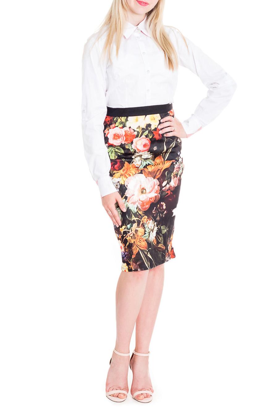 ЮбкаЮбки<br>Красивая юбка для создания Вашего повседневного образа.   В изделии использованы цвета: черный, мультицвет  Рост девушки-фотомодели 170 см<br><br>По длине: Ниже колена<br>По материалу: Трикотаж<br>По рисунку: Растительные мотивы,С принтом,Цветные,Цветочные<br>По силуэту: Приталенные<br>По стилю: Повседневный стиль<br>По форме: Юбка-карандаш<br>По сезону: Осень,Весна<br>По элементам: С завышенной талией<br>Размер : 42<br>Материал: Трикотаж<br>Количество в наличии: 1