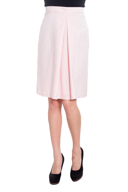 ЮбкаЮбки<br>Однотонная юбка с декоративными складками. Модель выполнена из приятного материала. Отличный выбор для повседневного гардероба.  Цвет: розовый  Рост девушки-фотомодели 170 см.<br><br>По длине: До колена<br>По материалу: Тканевые<br>По рисунку: Однотонные<br>По силуэту: Полуприталенные<br>По стилю: Повседневный стиль<br>По элементам: С завышенной талией,Со складками<br>По сезону: Осень,Весна<br>Размер : 42-44<br>Материал: Плательная ткань<br>Количество в наличии: 1