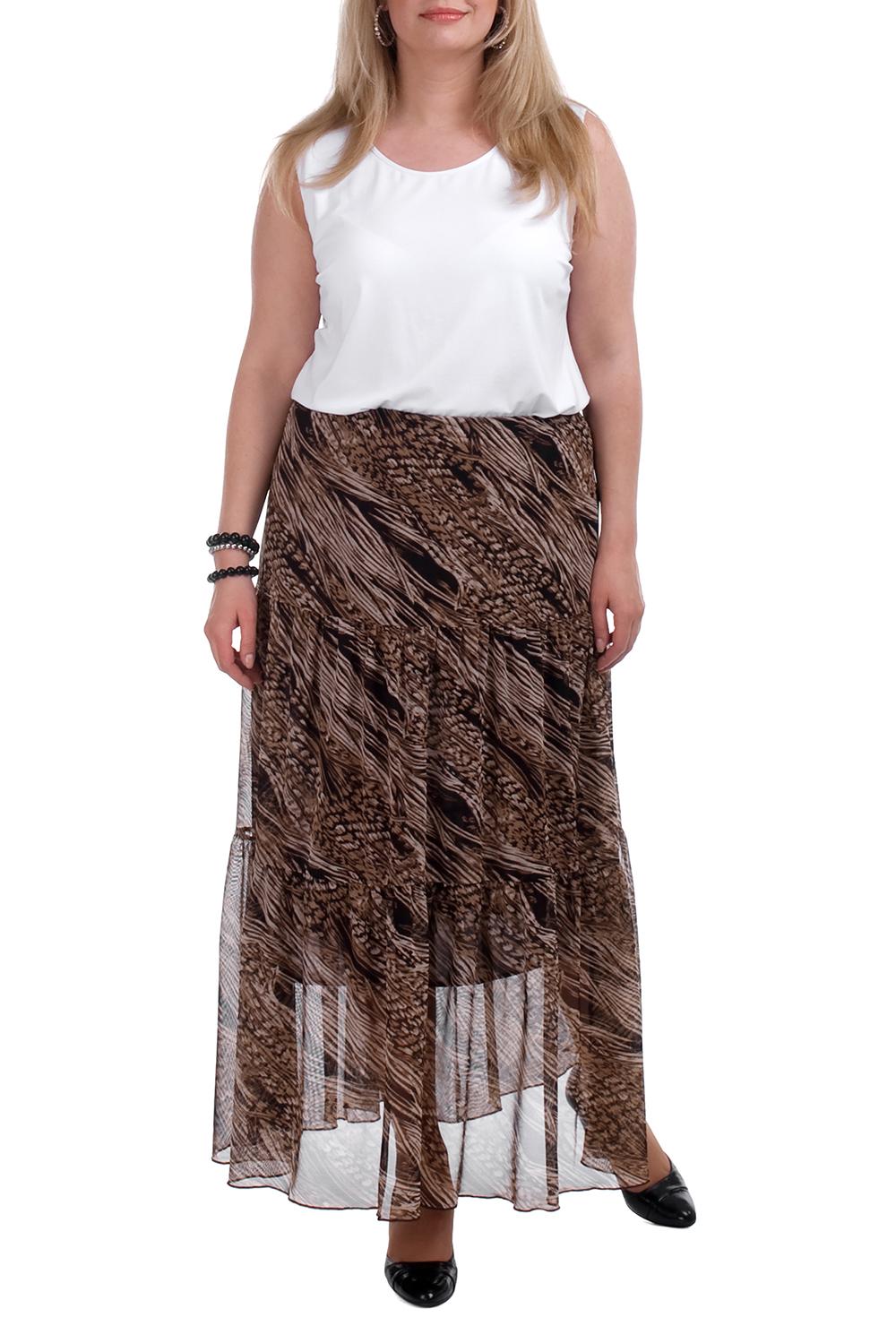 ЮбкаЮбки<br>Воздушная женская юбка. Модель выполнена из гипюровой сетки. Отличный выбор для любого случая.  Цвет: коричневый, бежевый  Рост девушки-фотомодели 173 см.<br><br>По длине: Макси<br>По материалу: Гипюровая сетка<br>По рисунку: С принтом,Цветные<br>По силуэту: Свободные<br>По стилю: Повседневный стиль<br>По элементам: С подкладом<br>По сезону: Лето<br>Размер : 54<br>Материал: Гипюровая сетка<br>Количество в наличии: 1