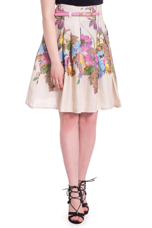 ЮбкаЮбки<br>Цветная юбка трапециевидного силуэта. Модель выполнена из приятного материала. Отличный выбор для любого случая. Юбка без пояса.  В изделии использованы цвета: бежевый, розовый и др.  Рост девушки-фотомодели 170 см<br><br>По длине: До колена<br>По материалу: Костюмные ткани,Тканевые<br>По рисунку: Растительные мотивы,С принтом,Цветные,Цветочные<br>По силуэту: Полуприталенные<br>По стилю: Летний стиль,Повседневный стиль<br>По форме: Юбка-трапеция<br>По элементам: Со складками<br>По сезону: Лето<br>Размер : 42,44,48<br>Материал: Костюмно-плательная ткань<br>Количество в наличии: 3