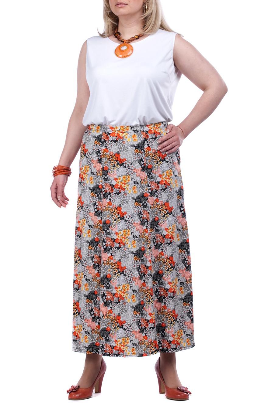 ЮбкаЮбки<br>Удлиненная женская юбка. Модель выполнена из приятного трикотжа. Отличный вариант для повседневного гардероба.  Цвет: серый, оранжевый  Рост девушки-фотомодели - 173 см<br><br>По длине: Миди<br>По рисунку: Абстракция,Цветные,С принтом<br>По сезону: Лето<br>По силуэту: Полуприталенные<br>По материалу: Трикотаж<br>По стилю: Летний стиль,Повседневный стиль<br>Размер : 62<br>Материал: Холодное масло<br>Количество в наличии: 1