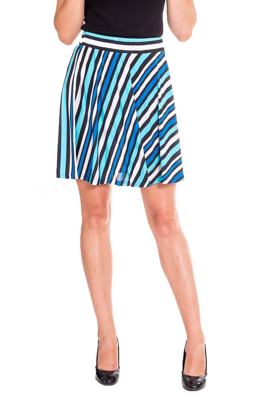 ЮбкаЮбки<br>Удобная летняя юбка из эластичного материала. Отличный выбор для повседневного гардероба.  В изделии использованы цвета: белый, голубой, черный  Рост девушки-фотомодели 170 см<br><br>По длине: До колена<br>По материалу: Вискоза,Трикотаж<br>По рисунку: В полоску,С принтом,Цветные<br>По силуэту: Полуприталенные<br>По стилю: Повседневный стиль,Летний стиль<br>По форме: Юбка-трапеция<br>По элементам: С завышенной талией<br>По сезону: Лето<br>Размер : 42,44,46<br>Материал: Холодное масло<br>Количество в наличии: 5