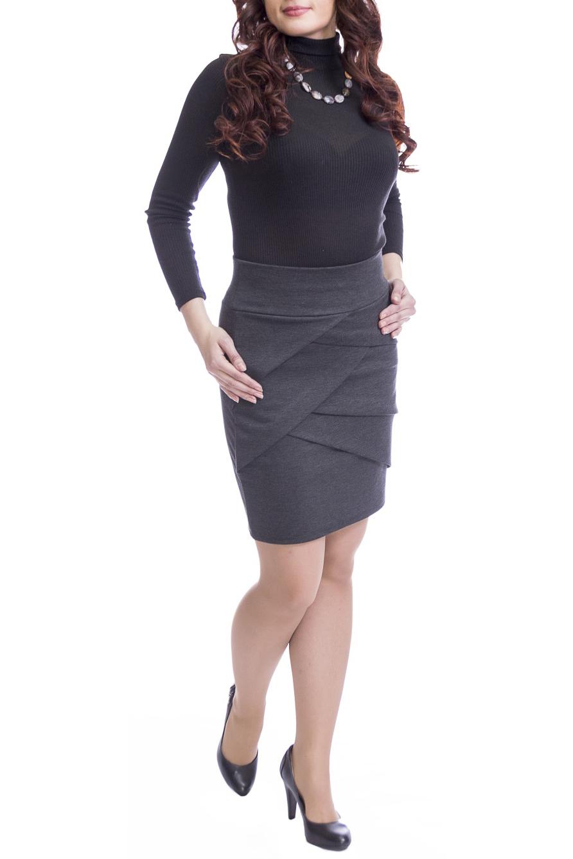 ЮбкаЮбки<br>Однотонная юбка приталенного силуэта. Наличие эластана в составе ткани обеспечивает свободу движений. Отличный выбор для повседневного и делового гардероба. Ткань - плотный трикотаж, характеризующийся эластичностью, растяжимостью и мягкостью.  Цвет: серый  Рост девушки-фотомодели 170 см.<br><br>По длине: До колена<br>По материалу: Вискоза,Трикотаж<br>По рисунку: Однотонные<br>По силуэту: Приталенные<br>По стилю: Офисный стиль,Повседневный стиль<br>По форме: Юбка-карандаш<br>По элементам: С декором,Со складками<br>По сезону: Осень,Весна<br>Размер : 46,48,50,52<br>Материал: Джерси<br>Количество в наличии: 6