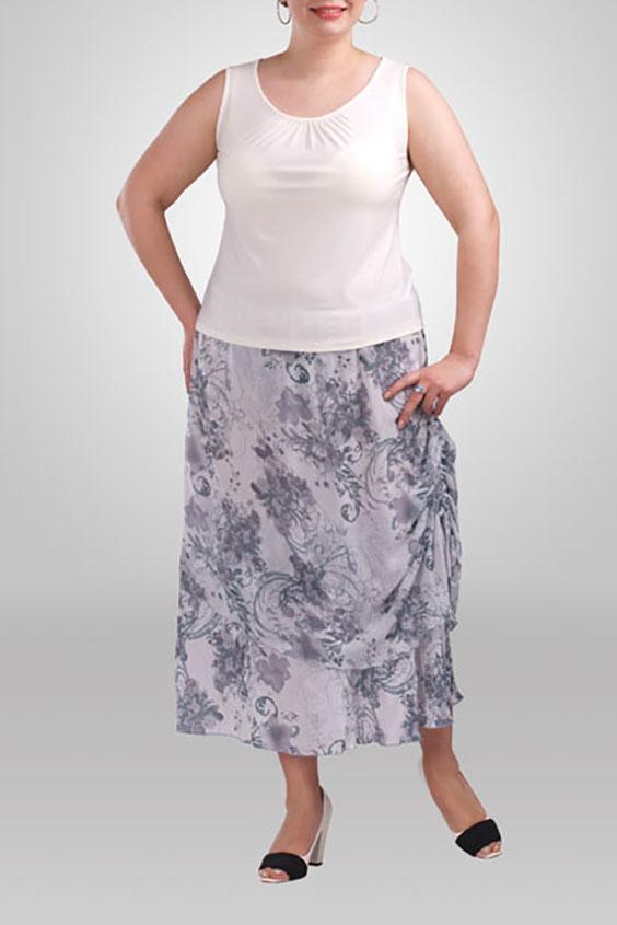 ЮбкаЮбки<br>Летняя юбка длиной миди. В боковом шве снизу затяжка-завязка. Модель выполнена из воздушного шифона с подкладом из приятного трикотажа. Отличный выбор для летнего гардероба.  Цвет: серый  Рост девушки-фотомодели 173 см<br><br>По длине: Миди,Ниже колена<br>По материалу: Шифон<br>По образу: Город,Свидание<br>По рисунку: Растительные мотивы,С принтом,Цветные,Цветочные<br>По силуэту: Полуприталенные<br>По стилю: Летний стиль,Повседневный стиль<br>По элементам: С декором<br>По сезону: Лето<br>Размер : 54<br>Материал: Шифон<br>Количество в наличии: 1