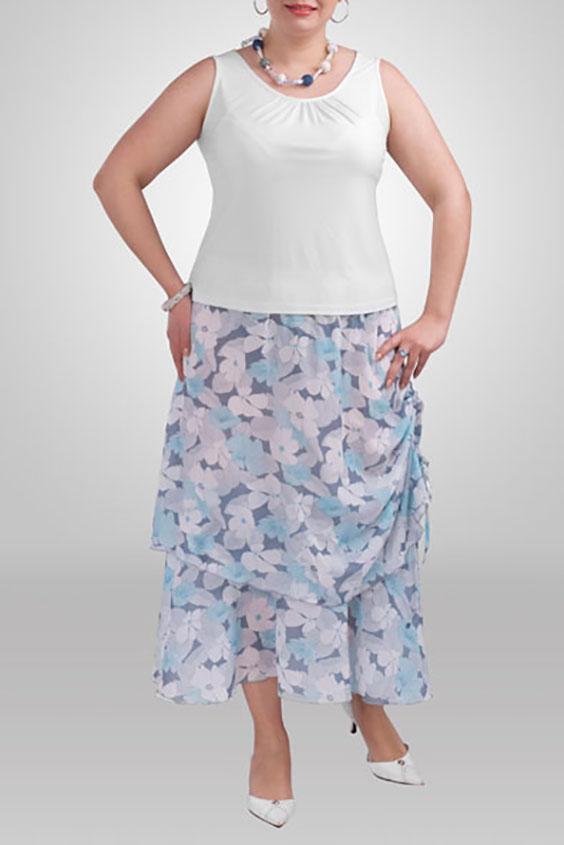 ЮбкаЮбки<br>Летняя юбка длиной миди. В боковом шве снизу затяжка-завязка. Модель выполнена из воздушного шифона с подкладом из приятного трикотажа. Отличный выбор для летнего гардероба.  Цвет: серый, голубой  Рост девушки-фотомодели 173 см<br><br>По длине: Миди,Ниже колена<br>По материалу: Шифон<br>По образу: Город,Свидание<br>По рисунку: Растительные мотивы,С принтом,Цветные,Цветочные<br>По силуэту: Полуприталенные<br>По стилю: Летний стиль,Повседневный стиль<br>По элементам: С декором<br>По сезону: Лето<br>Размер : 52,54,56,58,66<br>Материал: Шифон<br>Количество в наличии: 6