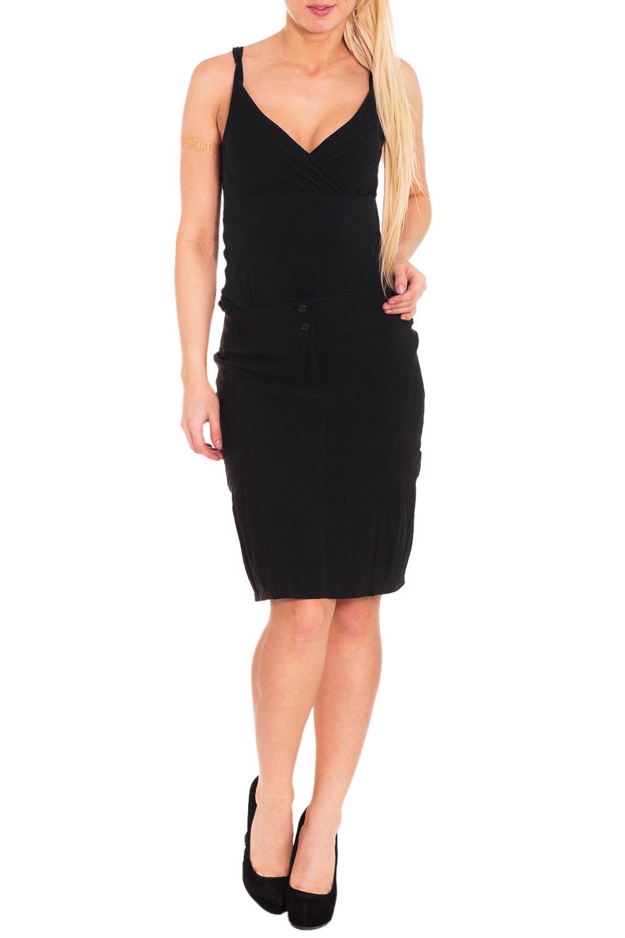 ЮбкаЮбки<br>Красивая женская юбка из плотной костюмной ткани. Отличный выбор для повседневного и делового гардероба.  Цвет: черный  Рост девушки-фотомодели 170 см<br><br>По длине: До колена<br>По материалу: Тканевые,Хлопок<br>По рисунку: Однотонные<br>По силуэту: Полуприталенные<br>По стилю: Офисный стиль,Повседневный стиль<br>По форме: Юбка-карандаш<br>По элементам: С декором,С карманами<br>По сезону: Осень,Весна<br>Размер : 44<br>Материал: Костюмно-плательная ткань<br>Количество в наличии: 1