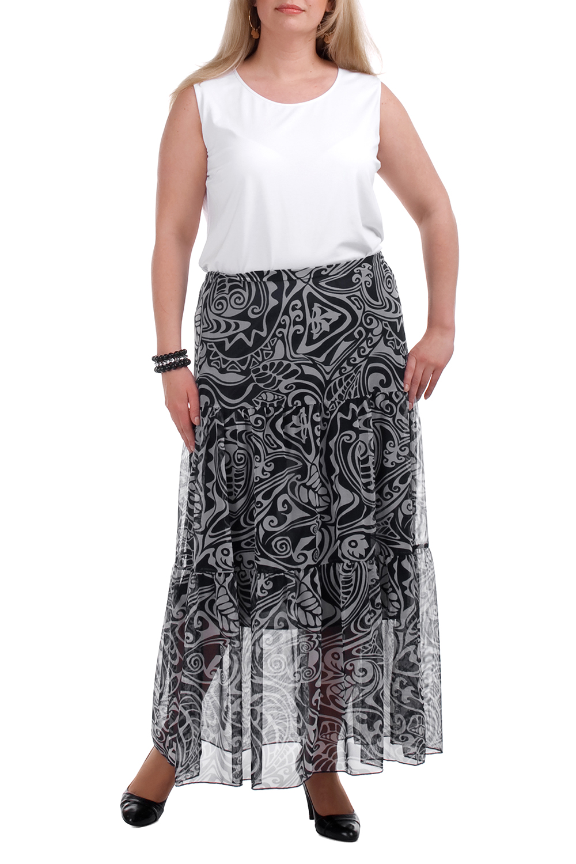 ЮбкаЮбки<br>Воздушная женская юбка. Модель выполнена из трикотажного подклада и верха из гипюровой сетки. Отличный выбор для любого случая. Подклад темно-синий.  Цвет: черный, белый  Рост девушки-фотомодели 173 см.<br><br>По длине: Макси<br>По материалу: Гипюровая сетка,Трикотаж<br>По образу: Город,Свидание<br>По рисунку: С принтом,Цветные<br>По силуэту: Полуприталенные<br>По стилю: Повседневный стиль<br>По элементам: С подкладом<br>По сезону: Лето<br>По форме: Юбка-трапеция<br>Размер : 52<br>Материал: Гипюровая сетка<br>Количество в наличии: 1