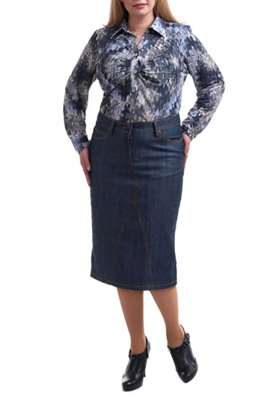 ЮбкаЮбки<br>Универсальная юбка приталенного силуэта ниже колена. Модель выполнена из ткани под джинс. Отличный выбор для любого случая.  Цвет: синий  Рост девушки-фотомодели 173 см<br><br>По длине: Ниже колена<br>По материалу: Хлопок<br>По рисунку: Однотонные<br>По сезону: Лето,Осень,Весна<br>По силуэту: Приталенные<br>По стилю: Повседневный стиль<br>По форме: Юбка-карандаш<br>По элементам: С карманами<br>Размер : 52<br>Материал: Хлопок<br>Количество в наличии: 2