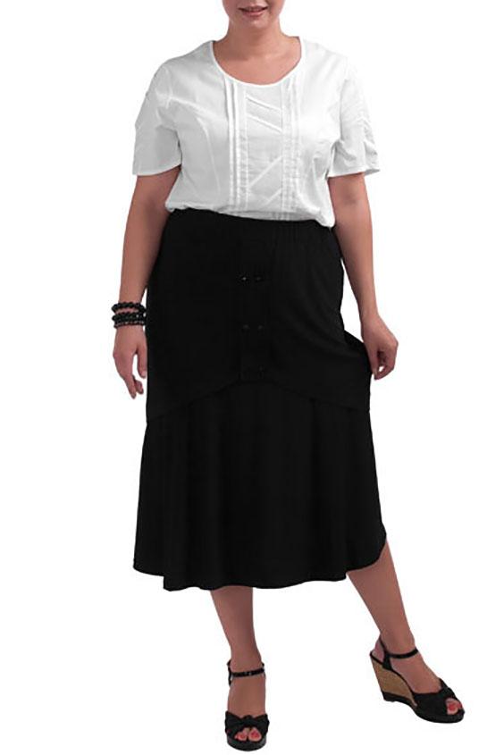 ЮбкаЮбки<br>Летняя юбка длиной миди. Модель выполнена из тонкого трикотажа. Отличный выбор для повседневного гардероба.  Цвет: черный  Рост девушки-фотомодели 173 см<br><br>По длине: Миди,Ниже колена<br>По материалу: Трикотаж<br>По рисунку: Однотонные<br>По силуэту: Полуприталенные<br>По стилю: Повседневный стиль<br>По элементам: С декором<br>По сезону: Лето<br>Размер : 52-54<br>Материал: Холодное масло<br>Количество в наличии: 5