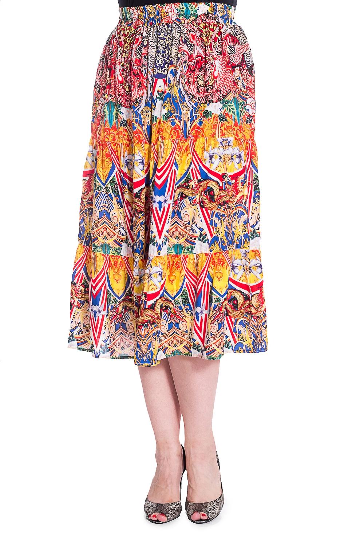 ЮбкаЮбки<br>Цветная ярусная юбка на резинке. Модель выполнена из приятного штапеля. Отличный выбор для любого случая.  В изделии использованы цвета: красный, белый, желтый, синий и др.  Рост девушки-фотомодели 180 см<br><br>По длине: Ниже колена<br>По материалу: Вискоза,Штапель<br>По рисунку: С принтом,Цветные<br>По силуэту: Полуприталенные<br>По стилю: Летний стиль,Повседневный стиль<br>По форме: Юбка-трапеция<br>По элементам: С завышенной талией<br>По сезону: Лето<br>Размер : 60<br>Материал: Штапель<br>Количество в наличии: 1