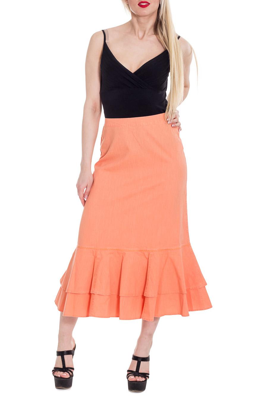 ЮбкаЮбки<br>Однотонная юбка из хлопкового материала. Отличный выбор для летнего гардероба.  Цвет: светло-оранжевый  Рост девушки-фотомодели 170 см<br><br>По длине: Миди,Ниже колена<br>По материалу: Хлопок<br>По образу: Город,Свидание<br>По рисунку: Однотонные<br>По силуэту: Полуприталенные<br>По стилю: Повседневный стиль<br>По элементам: С воланами и рюшами<br>По сезону: Лето<br>Размер : 42<br>Материал: Хлопок<br>Количество в наличии: 1