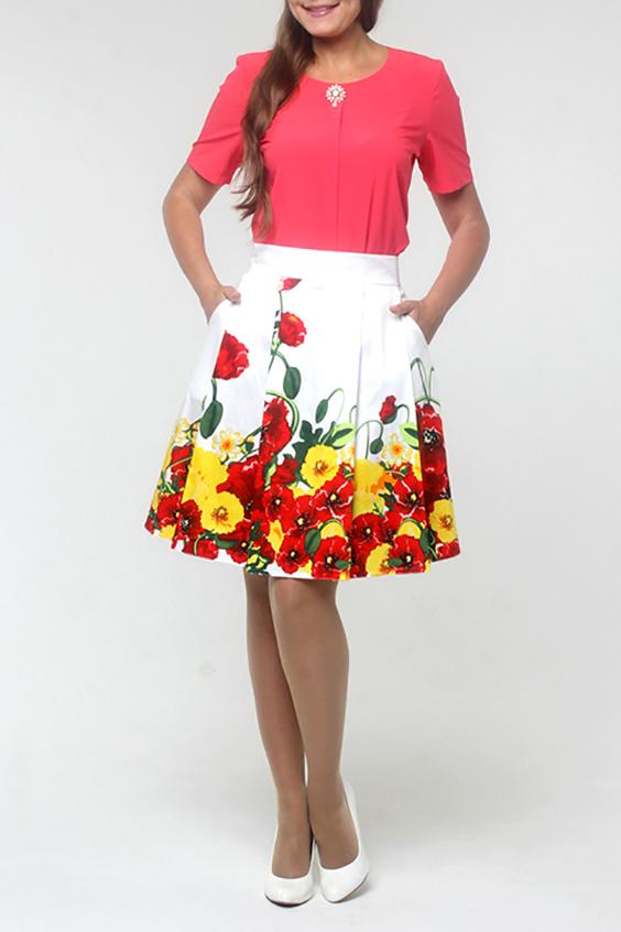 ЮбкаЮбки<br>Женская юбка, расклешенная от пояса к низу, с широким притачным поясом. Застежка расположена сзади по среднему шву на потайную тесьму молнию, по бокам два удобных, вместительных кармана. Великолепный женский летний вариант юбки в мягкую складку, подчеркнет фигуру на уровне бедер, а прекрасная расцветка и комфортность посадки не оставят равнодушными самых взыскательных модниц.  Длина изделия 53 см.  В изделии использованы цвета: белый, красный, зеленый, желтый  Рост девушки-фотомодели 170 см<br><br>По длине: До колена<br>По материалу: Тканевые,Хлопок<br>По образу: Город,Свидание<br>По рисунку: Растительные мотивы,С принтом,Цветные,Цветочные<br>По силуэту: Полуприталенные<br>По стилю: Повседневный стиль<br>По форме: Юбка-солнце<br>По элементам: С завышенной талией<br>По сезону: Лето<br>Размер : 44,50<br>Материал: Костюмная ткань<br>Количество в наличии: 2