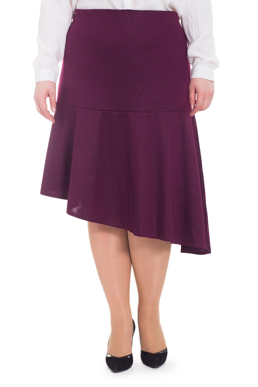 ЮбкаЮбки<br>Оригинальная женская юбка с асимметричным низом. Модель станет идеальным дополнением к Вашему изысканному гардеробу.  Юбка силуэта quot;трапецияquot; с широким, асимметричным воланом по низу. На спинке средний шов с молнией. Верхний срез обработан обтачкой.  Цвет: бордовый.  Рост девушки-фотомодели 178 см  Длина по спинке изделия - 67 ± 2 см<br><br>По длине: Ниже колена<br>По материалу: Трикотаж<br>По рисунку: Однотонные<br>По сезону: Весна,Зима,Лето,Осень,Всесезон<br>По силуэту: Полуприталенные<br>По стилю: Повседневный стиль,Романтический стиль<br>По элементам: С воланами и рюшами,С декором,С фигурным низом<br>Застежка: С молнией<br>Размер : 58,62,68<br>Материал: Трикотаж<br>Количество в наличии: 3
