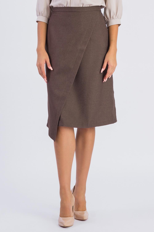 ЮбкаЮбки<br>Стильная юбка с фигурным низом для современных модниц. Эта оригинальная юбка подчеркнет Ваши стройные ножки и чувство индивидуальности.  Юбка силуэта трапеция с запахом, на поясе. Молния в боковом шве. На спинке средний шов.   Цвет: коричневый.  Рост девушки-фотомодели 168 см  Длина изделия (по боковому шву) - 62 ± 2 см  При создании образа, который Вы видите на фотографии, также была использована стильная блузка арт. DG4116(3111). Для просмотра модели введите артикул в строке поиска.<br><br>По длине: Ниже колена<br>По материалу: Костюмные ткани,Тканевые<br>По рисунку: Однотонные<br>По сезону: Весна,Зима,Лето,Осень,Всесезон<br>По силуэту: Полуприталенные<br>По стилю: Кэжуал,Офисный стиль,Повседневный стиль,Романтический стиль<br>По элементам: С декором,С разрезом,С фигурным низом<br>Разрез: Длинный<br>Застежка: С молнией<br>Размер : 42,44,46,48,50<br>Материал: Костюмно-плательная ткань<br>Количество в наличии: 11