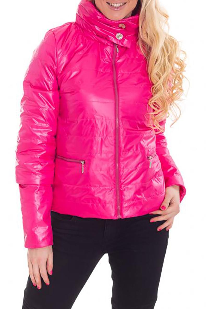 КурткаКуртки<br>Яркая молодежная куртка с застежкой на молнию. Модель выполнена из плотной болоньи. Отличный выбор для повседневного гардероба.   Ростовка изделия 170 см.  Цвет: розовый  Рост девушки-фотомодели 170 см.<br><br>Воротник: Стойка<br>Застежка: С кнопками,С молнией<br>По длине: Средней длины<br>По материалу: Плащевая ткань,Тканевые<br>По образу: Город,Спорт<br>По рисунку: Однотонные<br>По силуэту: Полуприталенные<br>По стилю: Повседневный стиль,Спортивный стиль<br>По элементам: С карманами<br>Рукав: Длинный рукав<br>По сезону: Осень,Весна<br>Размер : 40,42,44,46,48,50,58<br>Материал: Болонья<br>Количество в наличии: 7