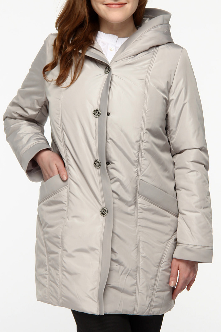 КурткаКуртки<br>Женская куртка с воротником плавно перетекающем в капюшон. Модель застегивается на пуговицы и имеет 2 кармана. Куртка отлично защитит Вас от непогоды.  Цвет: серый<br><br>По материалу: Плащевая ткань<br>По рисунку: Однотонные<br>По сезону: Весна,Осень<br>По форме: Куртка-парка<br>По элементам: С карманами<br>Рукав: Длинный рукав<br>По длине: Средней длины<br>По стилю: Повседневный стиль<br>Застежка: С пуговицами<br>Размер : 48,54,58<br>Материал: Болонья<br>Количество в наличии: 4