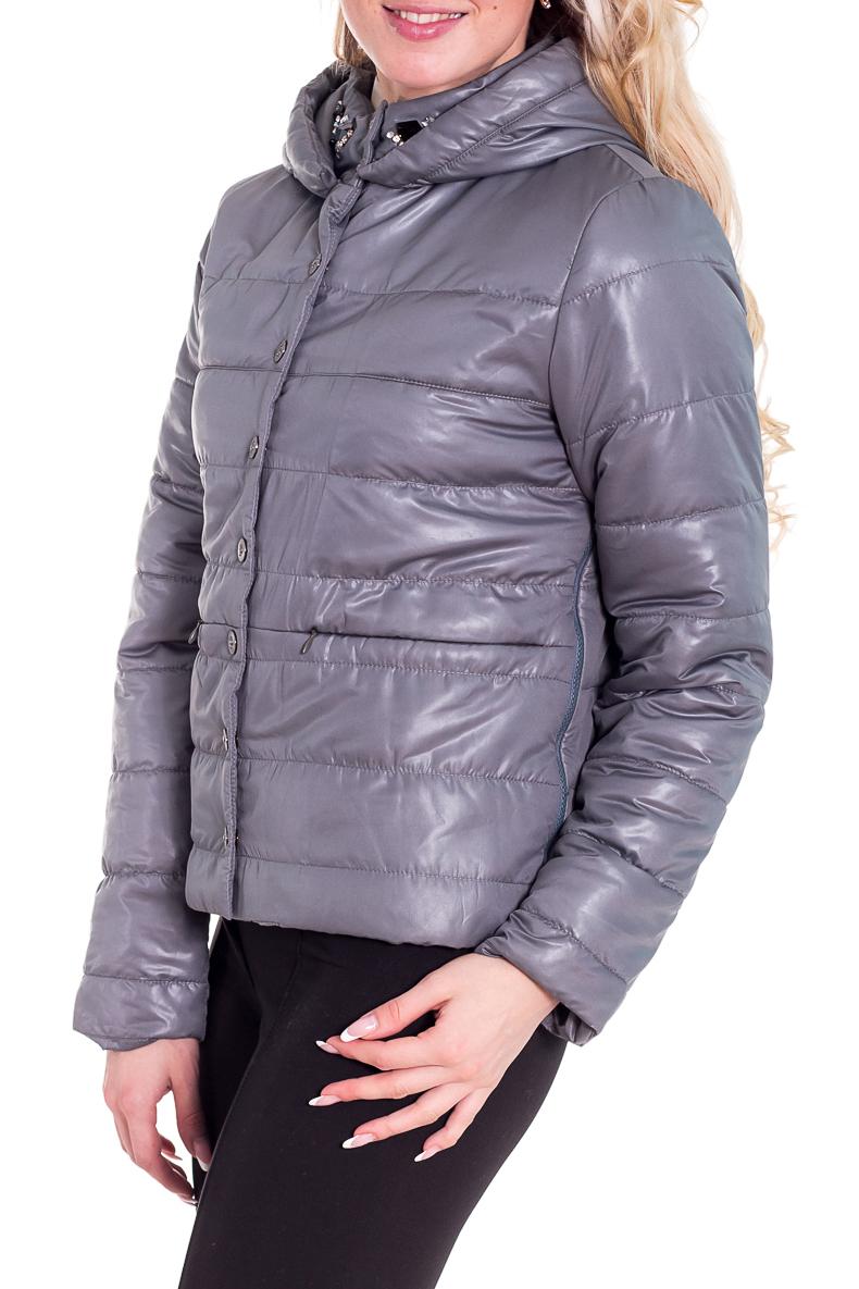 КурткаКуртки<br>Женская куртка с воротником quot;стойкаquot; и капюшоном. Модель застегивается на кнопки и имеет 2 кармана. Куртка отлично защитит Вас от непогоды.  Цвет: серый  Рост девушки-фотомодели 170 см<br><br>Воротник: Стойка<br>Застежка: С кнопками<br>По материалу: Плащевая ткань<br>По рисунку: Однотонные<br>По сезону: Весна,Осень<br>По силуэту: Полуприталенные<br>По стилю: Молодежный стиль,Повседневный стиль<br>По элементам: С капюшоном,С карманами<br>Рукав: Длинный рукав<br>По длине: Короткие<br>Размер : 48<br>Материал: Болонья<br>Количество в наличии: 1
