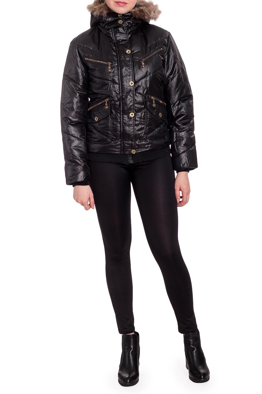 КурткаКуртки<br>Укороченная куртка с капюшоном. Модель выполнена из плотной болоньи. Отличный вариант для повседневного гардероба. Капюшон и мех отстегиваются.  Цвет: черный  Рост девушки-фотомодели 170 см<br><br>Воротник: Стойка<br>По длине: Короткие<br>По образу: Город<br>По рисунку: Однотонные<br>По силуэту: Полуприталенные<br>По стилю: Повседневный стиль<br>По элементам: С капюшоном,С карманами,С отделочной фурнитурой<br>Рукав: Длинный рукав<br>По сезону: Осень,Весна<br>Размер : 42,44,46<br>Материал: Болонья<br>Количество в наличии: 3