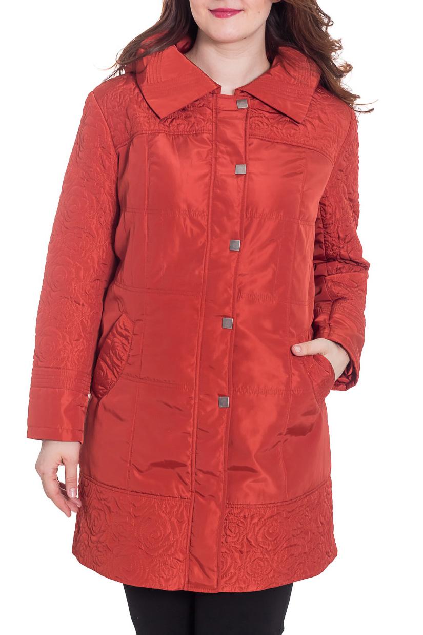 КурткаКуртки<br>Демисезонная курточка с отложным воротником, застежкой на молнию и кнопки и капюшоном. Модель выполнена из плотной плащевой ткани. Отличный выбор для повседневного гардероба. Ростовка изделия 170 см.  Цвет: терракотовый  Температурный режим: до -10 градусов.  Рост девушки-фотомодели 180 см.<br><br>Воротник: Отложной<br>Застежка: С кнопками,С молнией<br>По длине: Удлиненные<br>По материалу: Плащевая ткань<br>По рисунку: Однотонные<br>По силуэту: Полуприталенные<br>По стилю: Повседневный стиль<br>По элементам: С капюшоном,С карманами<br>Рукав: Длинный рукав<br>По сезону: Осень,Весна<br>Размер : 54,58<br>Материал: Плащевая ткань<br>Количество в наличии: 2