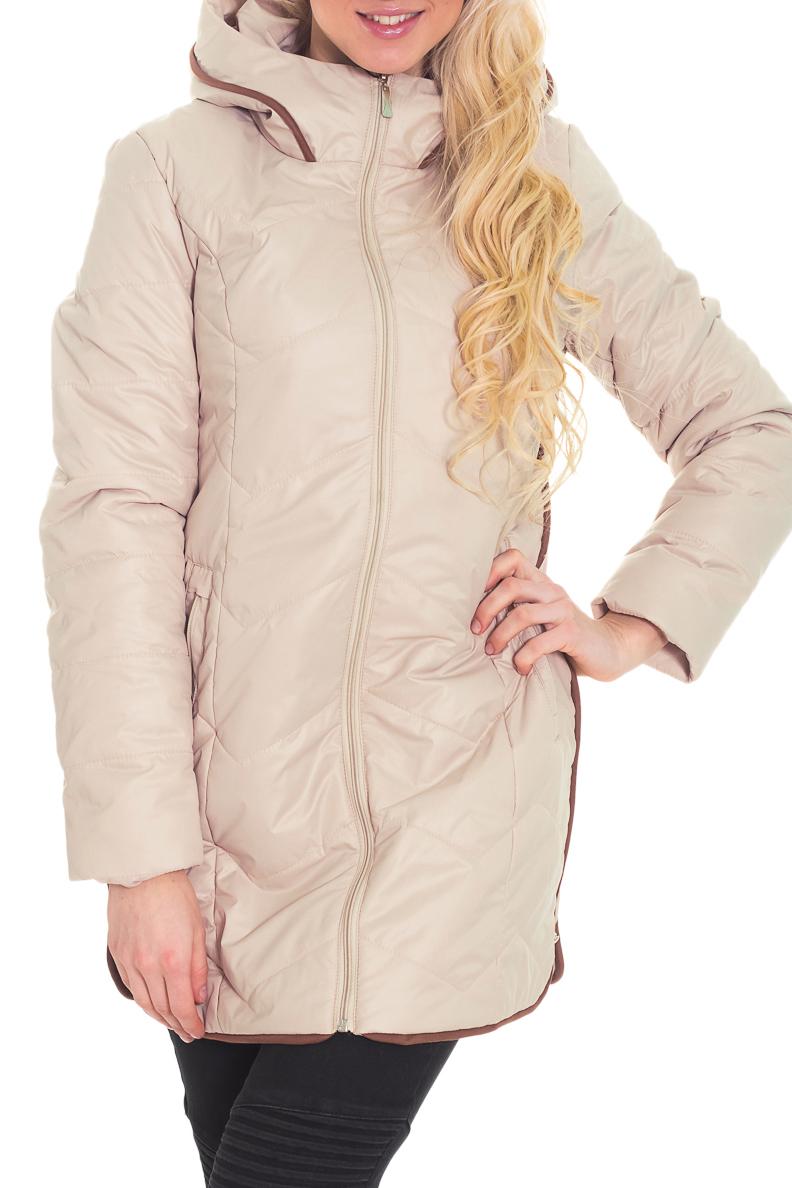 КурткаКуртки<br>Однотонная курточка со стоячим воротником, капюшоном (не отстегивается) и контрастной отделкой из велюра. Модель выполнена из плотной болоньи. Отличный выбор для повседневного гардероба. Ростовка изделия 170 см.  Цвет: бежевый  Температурный режим: до -10 градусов.  Рост девушки-фотомодели 170 см.<br><br>Воротник: Стойка<br>Застежка: С молнией<br>По длине: Удлиненные<br>По материалу: Плащевая ткань<br>По образу: Город<br>По рисунку: Однотонные<br>По силуэту: Свободные<br>По стилю: Повседневный стиль<br>По элементам: С карманами<br>Рукав: Длинный рукав<br>По сезону: Осень,Весна<br>Размер : 44<br>Материал: Болонья<br>Количество в наличии: 1