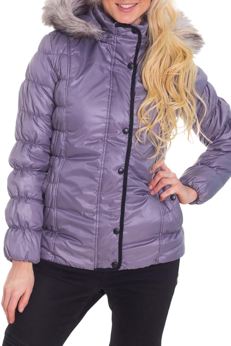 КурткаКуртки<br>Замечательная женская куртка с длинными рукавами, карманами и застежкой на молнию. Модель выполнена из плотной болоньи. Отличный выбор для повседневного гардероба. Ростовка изделия 170 см.  Цвет: сиреневый  Температурный режим: до -10 градусов.  Рост девушки-фотомодели 170 см.<br><br>Воротник: Стойка<br>Застежка: С кнопками,С молнией<br>По длине: Средней длины<br>По материалу: Мех,Плащевая ткань<br>По образу: Город<br>По рисунку: Однотонные<br>По силуэту: Полуприталенные<br>По стилю: Повседневный стиль<br>По элементам: С капюшоном,С карманами,С манжетами,С подкладом<br>Рукав: Длинный рукав<br>По сезону: Осень,Весна<br>Размер : 44<br>Материал: Болонья<br>Количество в наличии: 1