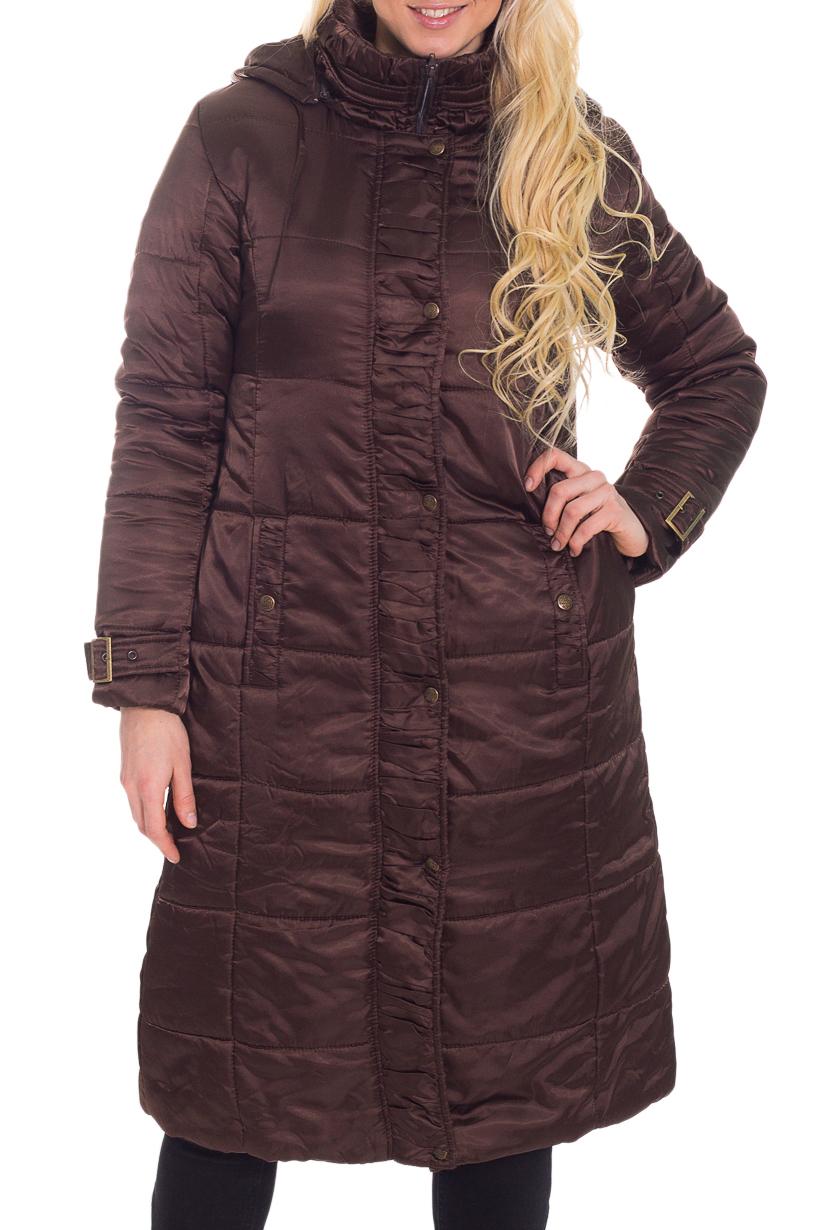 КурткаКуртки<br>Демисезонная курточка со стоячим воротником, застежкой на пуговицы и капюшоном. Модель выполнена из плотной плащевой ткани. Отличный выбор для повседневного гардероба. Ростовка изделия 170 см.  Цвет: коричневый  Температурный режим: до -10 градусов.  Рост девушки-фотомодели 170 см.<br><br>По образу: Город<br>По стилю: Повседневный стиль<br>По материалу: Плащевая ткань<br>По рисунку: Однотонные<br>По сезону: Осень,Весна<br>По силуэту: Полуприталенные<br>По элементам: С карманами,С капюшоном<br>По длине: Удлиненные<br>Воротник: Стойка<br>Рукав: Длинный рукав<br>Застежка: С кнопками,С молнией<br>Размер: 46<br>Материал: 100% полиэстер<br>Количество в наличии: 1
